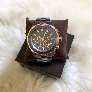 Michael Kors Gunmetal And Rose Gold Grayson Watch